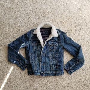 A&F sherpa denim jacket